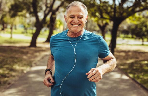 Happy man running